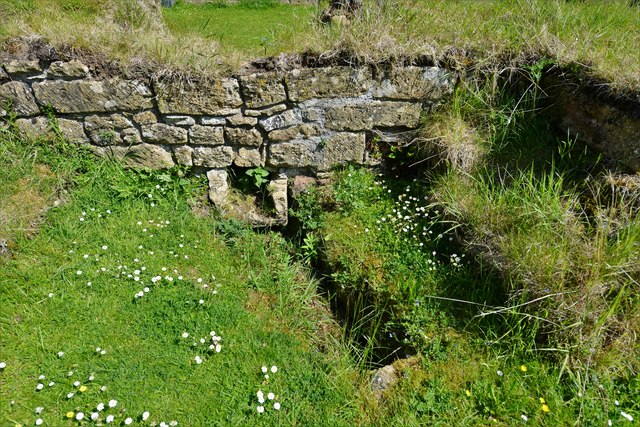 Hailes Abbey: Drainage channel in the Undercroft