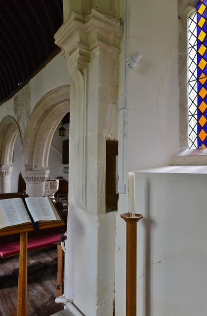 Little Barrington, St. Peter's Church: Medieval squint uncovered in the c20th
