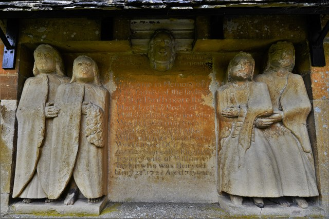 Little Barrington, St. Peter's Church: The Tayler memorial on the exterior east wall of the south porch