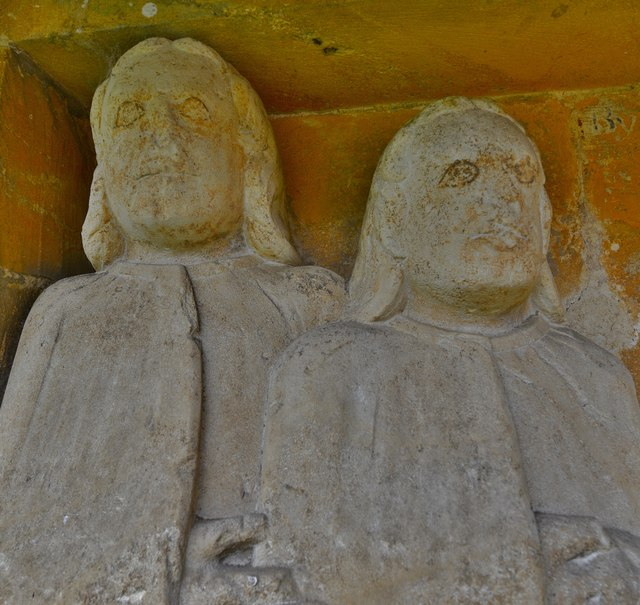 Little Barrington, St. Peter's Church: The Tayler memorial on the exterior east wall of the south porch (detail)