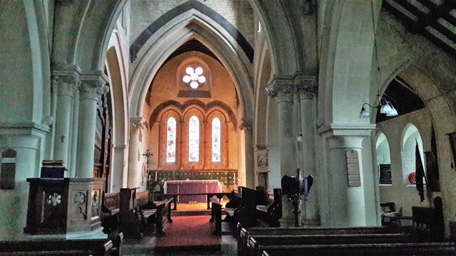 Interior of St Michael & All Angels, Leafield:  looking east