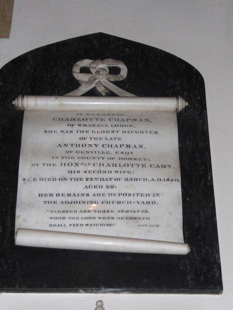 All Saints, Wraxall: memorial (n)