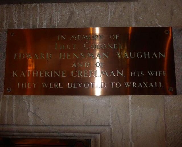 All Saints, Wraxall: memorial (t)