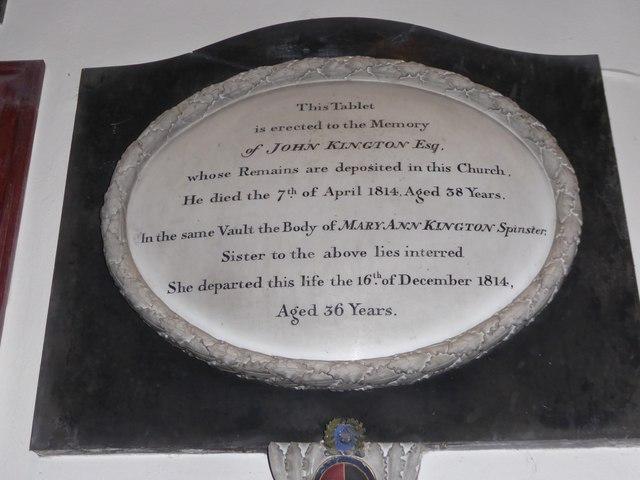 All Saints, Wraxall: memorial (v)