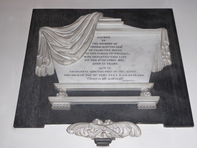 All Saints, Wraxall: memorial (x)