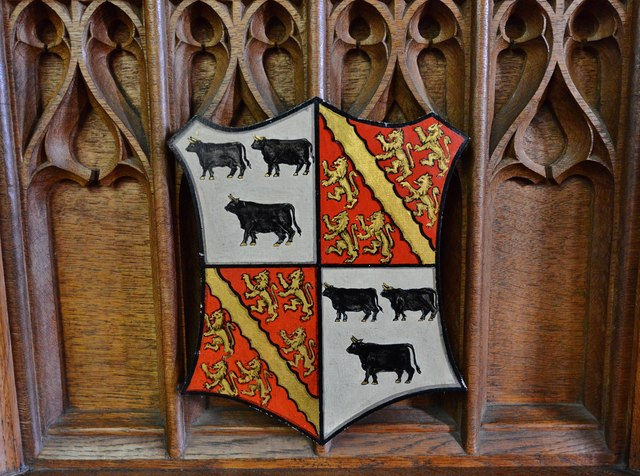 Purton, St. Mary's Church: Coat of Arms on the c19th oak pulpit 3