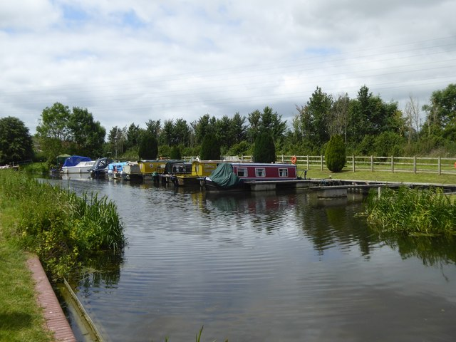Boats moored at Bathpool on Bridgwater and Taunton Canal