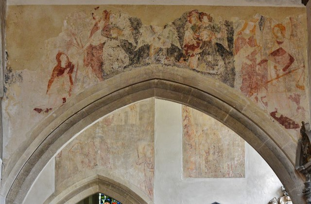 Purton, St. Mary's Church: Medieval Judgement scene over the transept arch in the south aisle 1
