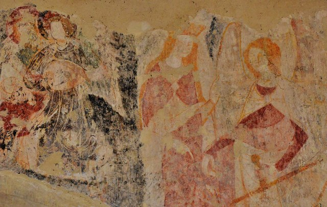 Purton, St. Mary's Church: Medieval Judgement scene over the transept arch in the south aisle 3