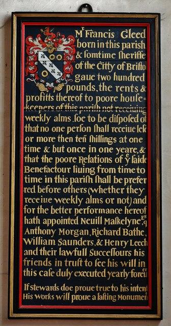 Purton, St. Mary's Church: Francis Gleed benefaction board