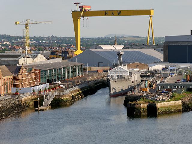 Belfast Harbour, Alexandra Dock and HMS Caroline