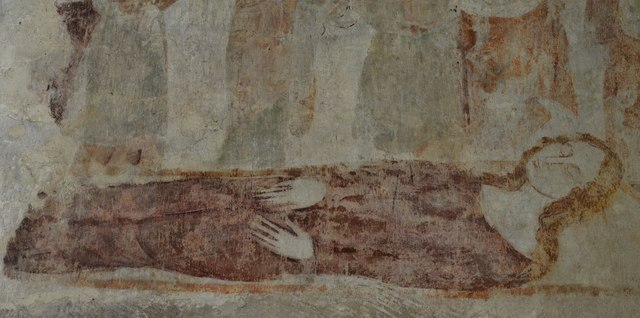 Purton, St. Mary's Church: Detail of the Death of the Virgin wall painting