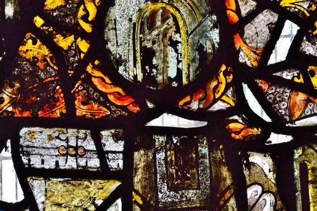 Purton, St. Mary's Church: c14th glass fragments in the south transept window 2