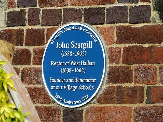 Blue plaque to John Scargill, West Hallam Village Hall