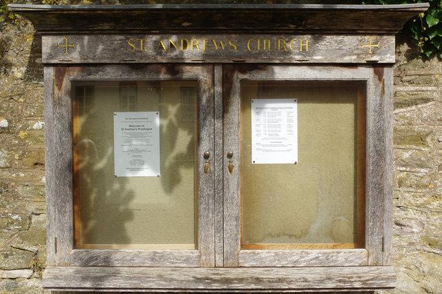 Notice case - St Andrew's Church, Presteigne