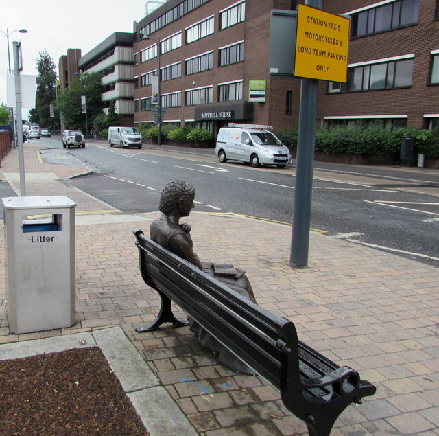 Yonge statue on a bench outside Eastleigh railway station