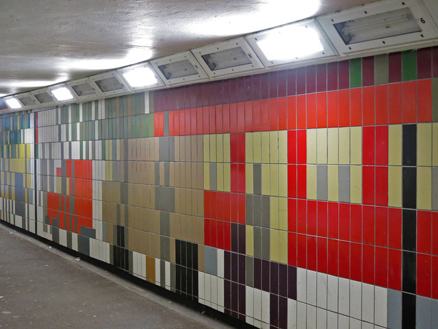 Tiled passageway in the underpass at Hanger Lane  tube station