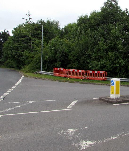Temporary barriers alongside a metal barrier, Pillmawr Road, Newport