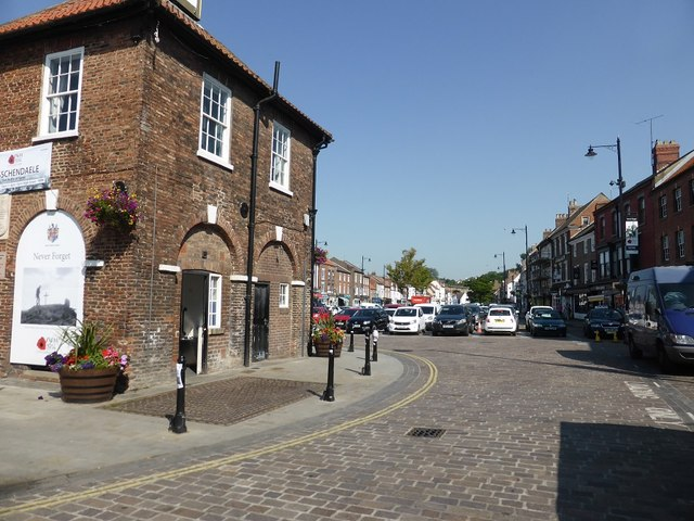 High Street, Yarm, with the Town Hall on the left
