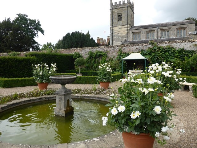 Pond in the walled garden at Coughton Court