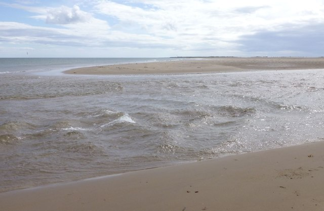 The river flowing off the Goswick Sands
