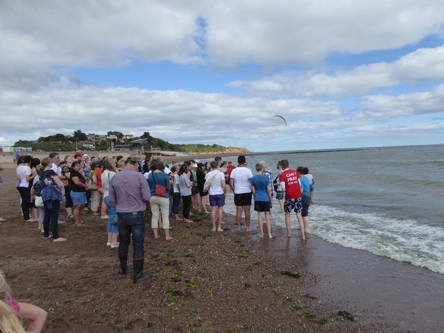 Open air service and baptism, Exmouth beach