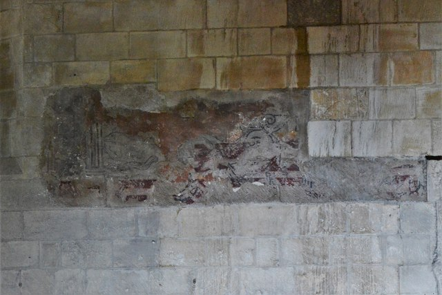 Bishops Cleeve, St. Michael and All Angels Church: Possible St. Christopher north wall painting