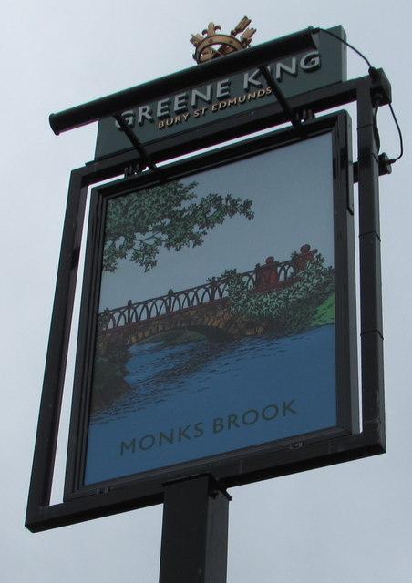 Monks Brook pub name sign, Chandler's Ford