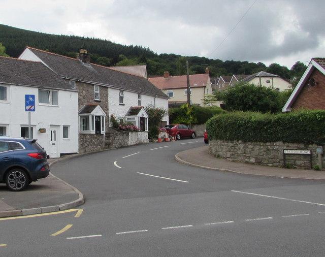 Junction of Station Road and Merthyr Road, Govilon