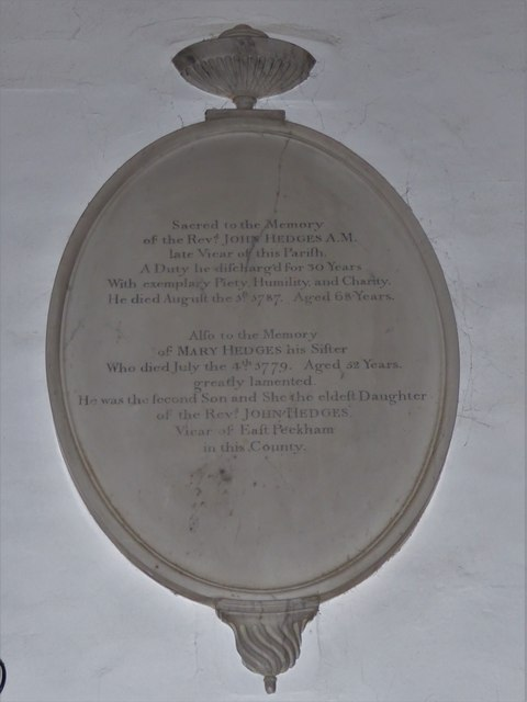 All Saints, Tudeley: memorial (c)