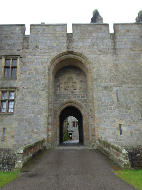 The imposing entrance gateway to Chirk Castle