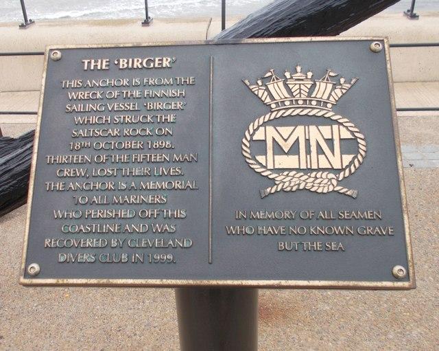 Plaques on Anchor memorial to Merchant seamen - Esplanade