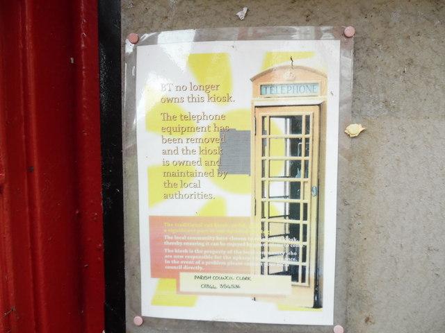 Notice inside Red Telephone Box at Sydenham,Oxon