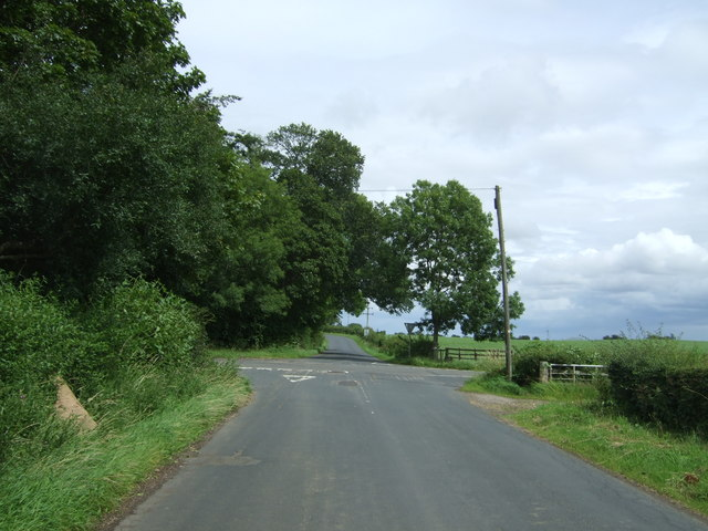 Crossroads near Saltoun Home Farm
