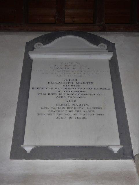 St Thomas à Becket, Capel: memorial (ii)