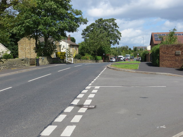 Gildersome Lane at its junction with Suffield Road in Gildersome