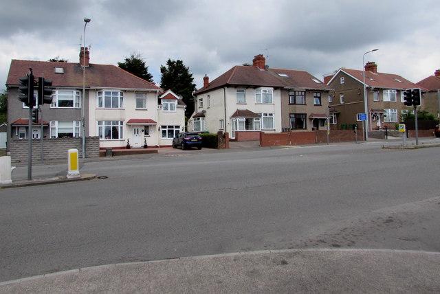 Newport Road semis opposite Ty Mawr Road, Rumney, Cardiff