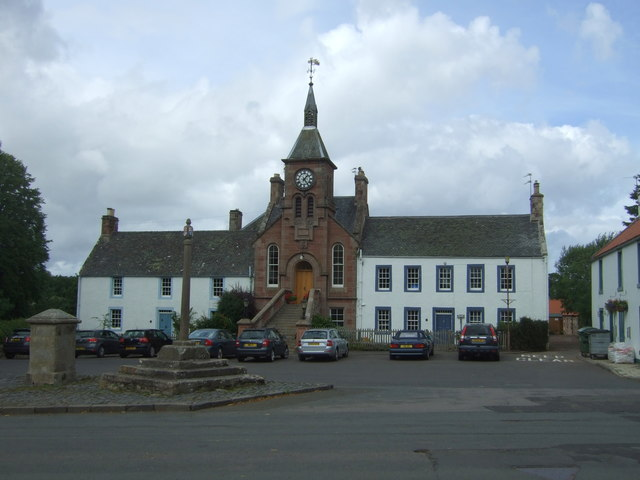 Gifford Town Hall and mercat cross