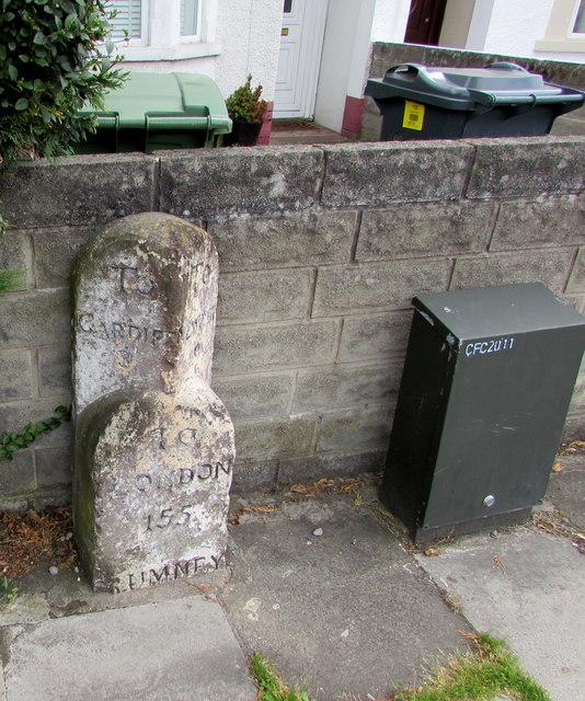 Old milestone, Rumney, Cardiff