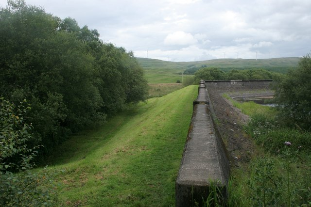End of the dam, Carron Valley Reservoir