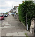 ST2179 : Pavement and old milestone on the east side of Newport Road, Rumney, Cardiff by Jaggery