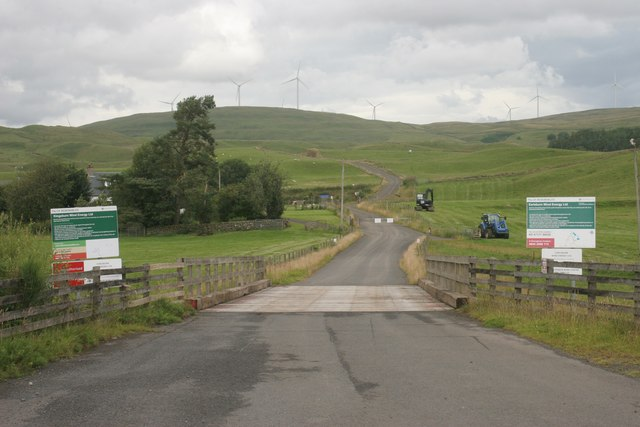 Entrance to Todholes and windfarms