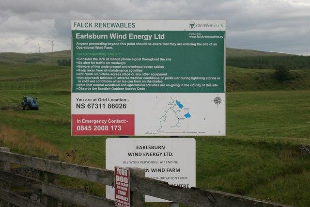 Sign for Earlsburn Wind Farm