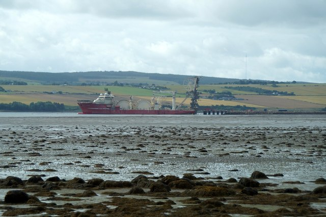 The pipe-laying vessel Deep Energy at the pier in Alness Bay