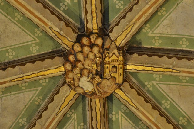 Tewkesbury Abbey, nave lierne vault boss: 'Christ's entry into Jerusalem'