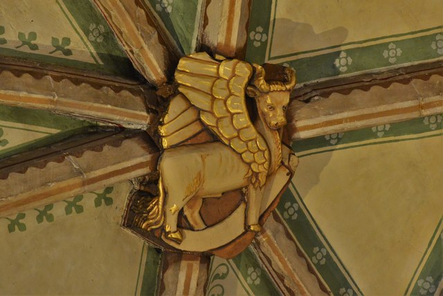 Tewkesbury Abbey, nave lierne vault boss: Winged ox representing St. Luke