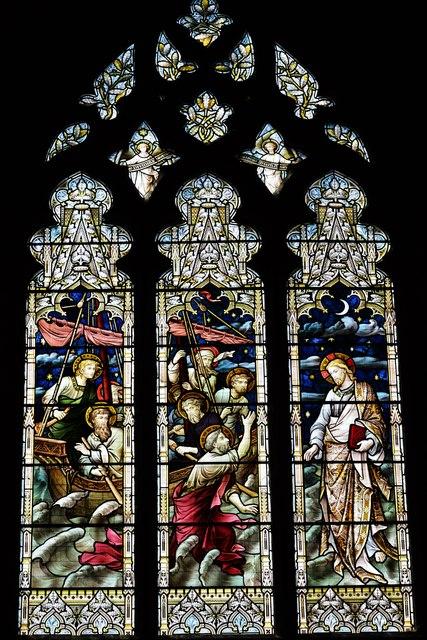 Tewkesbury Abbey, nave south aisle window: 'Jesus walking on the water'
