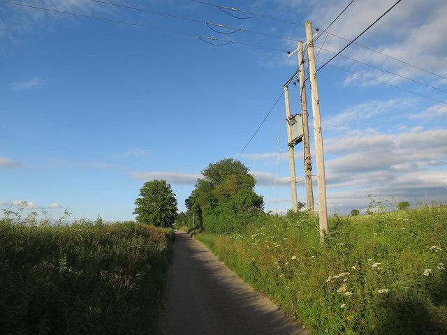 Power lines crossing Cow Lane