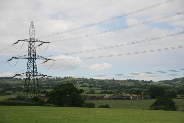 Looking past the pylon to Middlebrook Farm