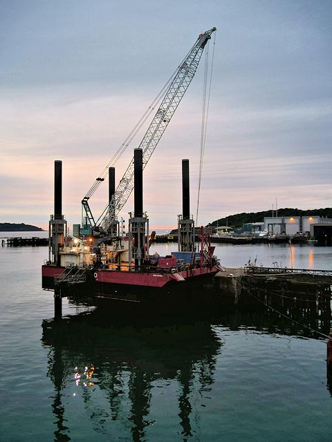 Jack-up Barge at Falmouth Northern Wharf